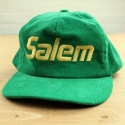 vtg 80's 90's SALEM cigarettes green corduroy snapback hat cap retro trucker