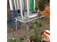 Glass table and 4 chairs for garden