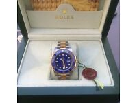 TwoTone Rolex Submariner With Blue Face and Blue Ceramic Bezel in Rolex Bag and Rolex Box