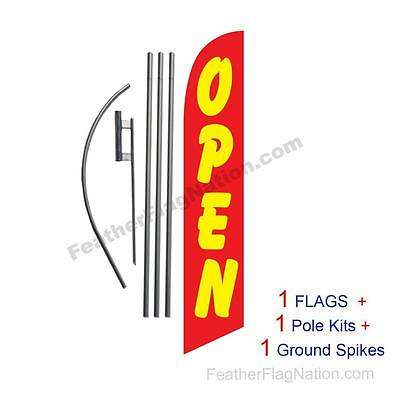 OPEN  15' Feather Banner Swooper Flag Kit with pole+spike