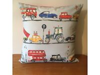 NEW Children's Handmade Cars Lorries Buses Cushion 60cm x 60cm - collect from Gosport