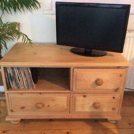Solid pine hi fi or TV unit for sale.