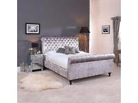 SINGLE DOUBLE KINGSIZE CHESTERFIELD SLEIGH STYLE UPHOLSTERED DESIGNER BED FRAME CRUSHED VELVET SALE