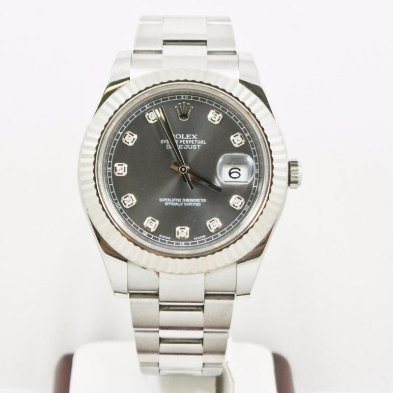Rolex 41mm Datejust Ii Model 116334 Factory Rhodium Diamond Dial