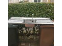 Double drainer steel sink top with taps