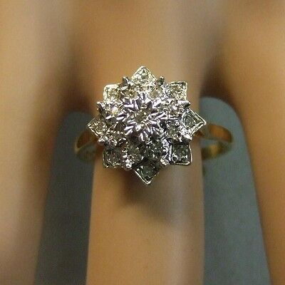 9ct gold second hand diamond cluster ring
