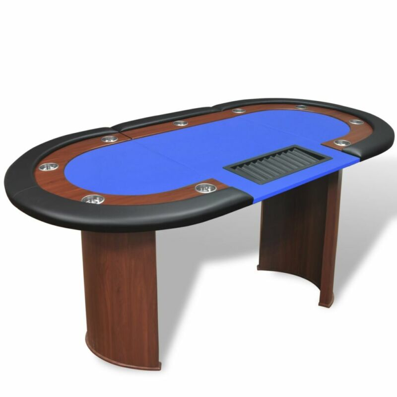 vidaXL 10-Player Poker Table w/ Dealer Area and Chip Tray Blue Card Gameplay