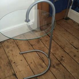 Trendy retro glass and metal side table