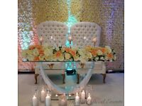 Flower wall, rose flower wall,throne chair,wedding stage, kids party/balloons, wedding stage drape