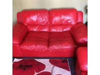 DFS RED LEATHER 3+2 SEATER SOFAS - MUST GO ASAP - CHEAP DELIVERY - £395
