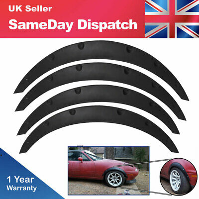 """Universal 4pcs 2""""/50mm Fender Flares JDM Over Wide Body Wheel Arches PP Plastic"""
