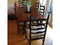 Oak dining table and 6 chairs with corner unit and sideboard