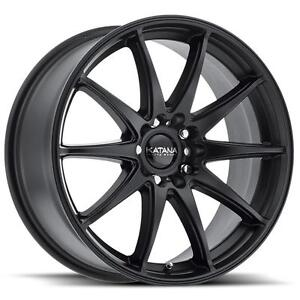 NEW 18 INCH MATTE BLACK MULTI 5 BOLT RIMS WITH TIRES FOR $1390 SET!!