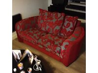 Sofa 2/3 seater red and grey fabric vgc