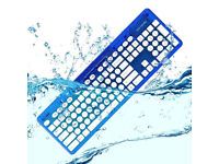Boxed wireless keyboard waterproof, new ROCK CANDY 'Blueberry', MAC WINDOWS PC IPAD desk chair table