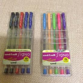 NEW uni-ball Signo Gel Ink Roller Ball packs of Pens, 2 for £10