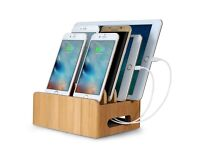 MaxTronic Bamboo Multi-device Cords Organizer Stand for phones, tablets & laptop
