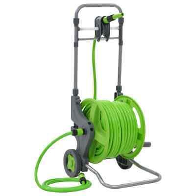 vidaXL Water Hose Reel with Wheels 45+2m Pipe Tube Holder Garden Equipment