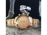 Boxed Rolex Daytona with champagne face & all Gold bracelet & bezel comes complete in Rolex box&bag