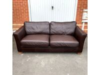 3 Seater Sofa - Genuine Brown Leather - Extremely Comfy ( Free Local Delivery )