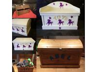 Unique toy boxes made by Grandads Shed