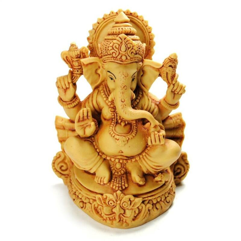 """GANESHA STATUE 4.5"""" Resin Hindu Elephant God HIGH QUALITY Sitting India Indian"""