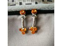 Orange Silver Earrings