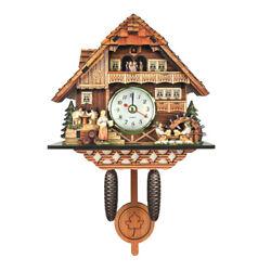 Wooden Cuckoo Wall Clock Alarm Watch Home Art Decor Bird Time Bell Swing Clock