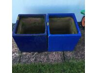 2 square pots blue 11x11x11