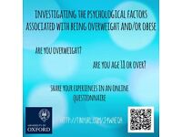 Take part in a research study exploring the psychology of weight gain and obesity