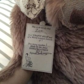 Collectors teddy bear. Zoe one of a kind. Mohair brushed eye lashes. Glass eyes. Great condition.