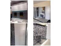 Sparkle effect bathroom tiles