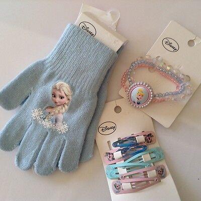 NWT Girl's Sz: 3Y+, 1Disney Princess Bracelet ,3 pairs hair clips ,gloves(4-8Y),