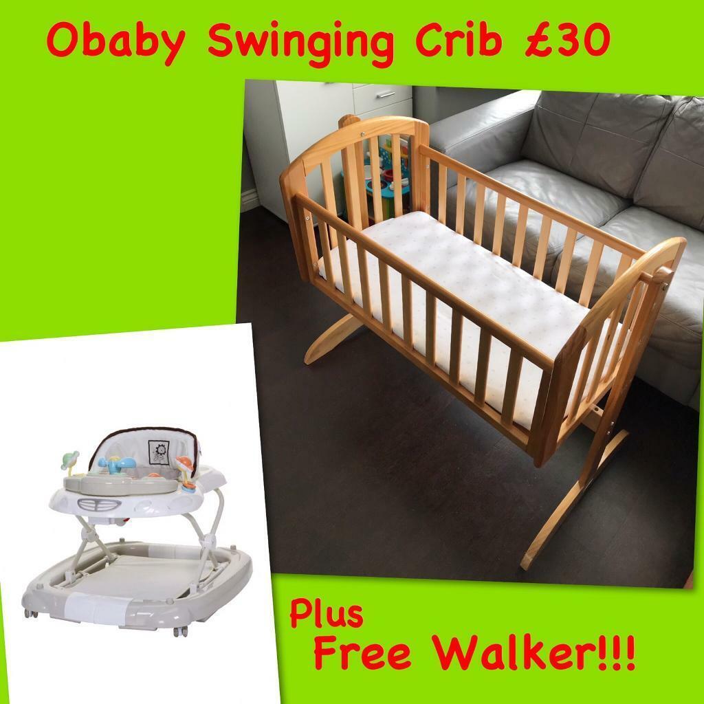 official photos 8cead b92c9 Obaby Swinging Crib Mattress FREE Baby Walker (Baby Weavers) £30 | in  Longbridge, West Midlands | Gumtree
