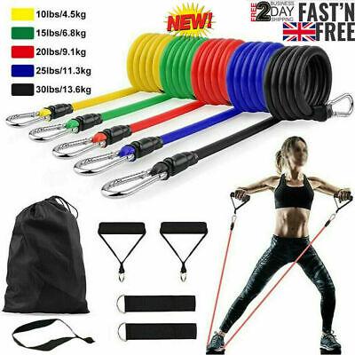 11PCS Resistance Bands Workout Exercise Crossfit Fitness Yoga Training Tubes Set