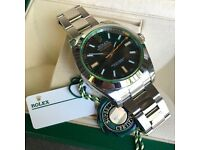 MINT Men's Rolex Milgauss Green Anniversary 116400 GV V Stainless Black Watch