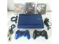 SONY PS3 500GB SLIM AZURITE BLUE RARE INC EXTRAS A1!!!