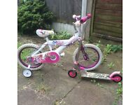 A Pink Bike with Stabilisers and A Scooter