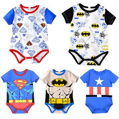 Baby Batman Outfit (Toddler Baby Boy Infant Newborn Batman Superman Bodysuit Romper Clothes)