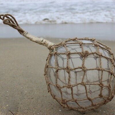 """10"""" Large Vintage Japanese Fishing Float - Clear Glass with Rope Netting"""