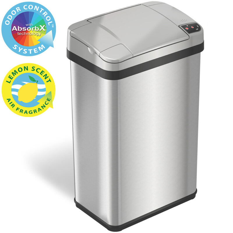 Best 4 Gallon Touchless Sensor Can Stainless Steel Automatic Bathroom Office