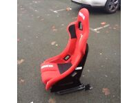 SPARCO REV PLUS RED BUCKET SEAT AND FORD FOCUS 2006-2011 DRIVER SIDE SEAT FRAME WITH SLIDER