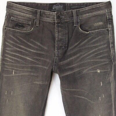 Mens SuperDry COPPERFILL LOOSE Stretch Relaxed Grey Jeans W34 L36