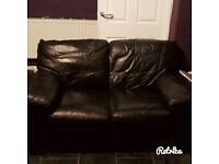 Black leather corner couch & matching 2 seater.