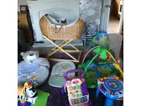 Baby bundle!! Moses basket and stand plus lots more