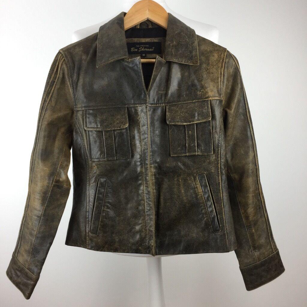 "Womens Brown Leather Jacket Size UK 10The Original Ben Shermanin Harrow, LondonGumtree - Womens Brown Leather Jacket Size UK 10 17"" Pit to pit, 18.5"" Pit to cuff, 21"" Collar to hem The Original Ben Sherman Great Condition"
