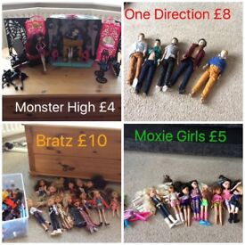 Bratz, one direction dolls, moxie girls and monster high