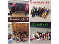 Bratz, one direction dolls, moxie girls and monster high
