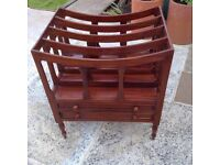 Wooden Magazine Rack With Two Draws