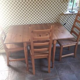 Ikea Pine Effect Extendable Table and 3 Chairs
